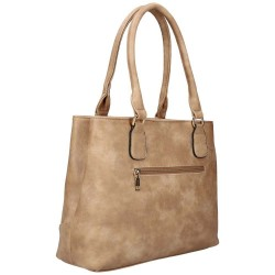 sac porté main en simili cuir beige
