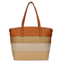 sac cabas raphia marron - David Jones