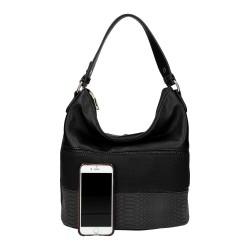 sac à main de couleur noir pour femme en simili cuir effet cuir patte d'autruche