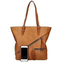 grand sac à main cabas en similicuir marron David Jones