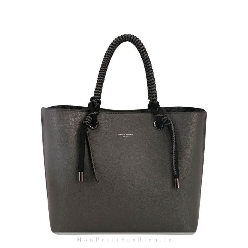 sac cabas porté épaule en simili cuir gris foncé