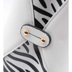 Coté et détails du sac à main blanc motif zèbre.