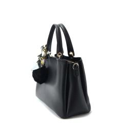 sac à main en simili cuir noir avec pompon et foulard femme