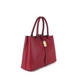 sac a main femme rouge et boucle dorée