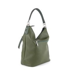 sac à main en simili cuir vert kaki de forme hobo pour femme