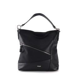 sac à main femme - noir - en simili cuir souple
