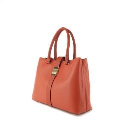 sac à main porté main en simili cuir de couleur corail pour femme