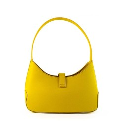 Dos du sac à main jaune porté main pour femme