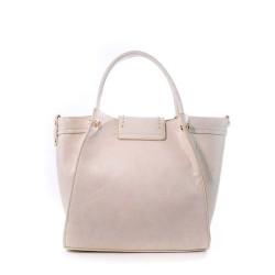 Dos du sac à main blanc rosé en simili cuir