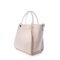 coté du sac porté main pour femme - couleur blanc rosé - effet peau de serpent