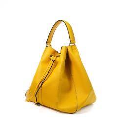 Sac à main pour femme jaune forme seau avec sa pochette