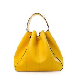 Dos du sac à main jaune forme seau