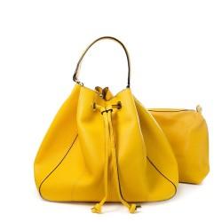 sac forme seau et sa pochette - couleur jaune