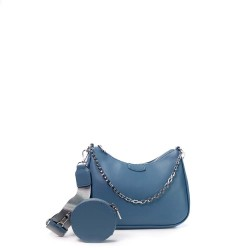 sac à main bandoulière en simili cuir bleu