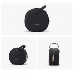 sac bandoulière rond noir femme